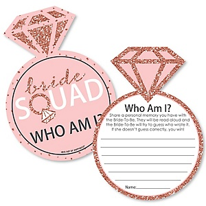 Bride Squad - Rose Gold Bridal Shower or Bachelorette Party Game - Who Am I Game Cards - Set of 20