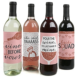 Bride Squad - Rose Gold Bridal Shower or Bachelorette Party Decorations for Women and Men - Wine Bottle Label Stickers - Set of 4