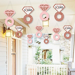 Hanging Bride Squad - Outdoor Rose Gold Bridal Shower or Bachelorette Party Hanging Porch & Tree Yard Decorations - 10 Pieces