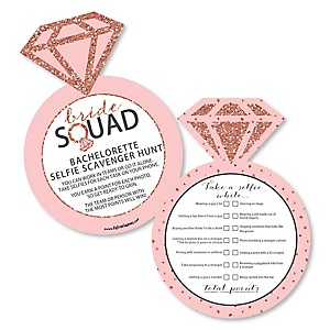Bride Squad - Selfie Scavenger Hunt - Rose Gold Bachelorette Party Game - Set of 12