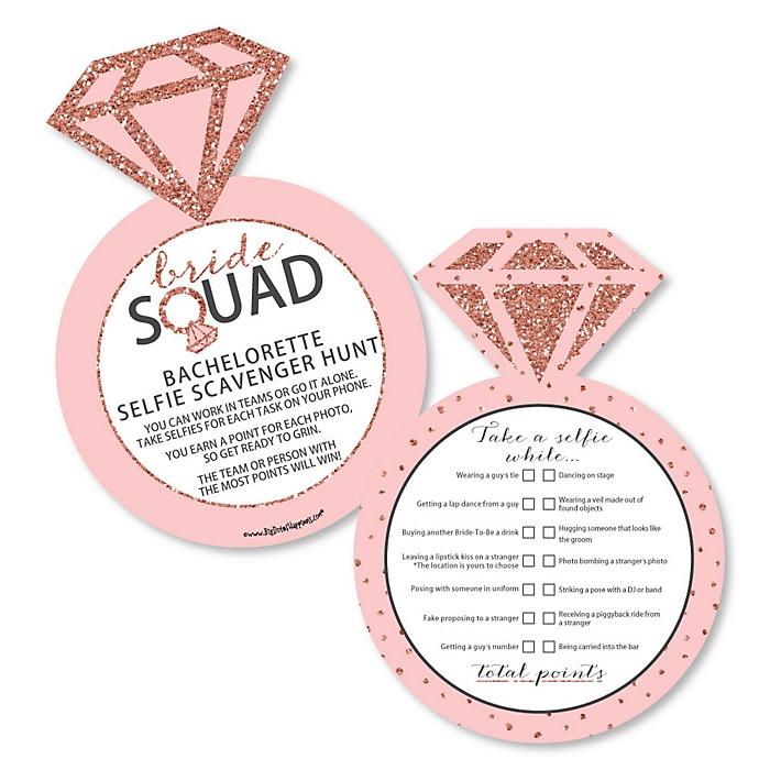 Bride Squad - Selfie Scavenger Hunt - Rose Gold Bachelorette Party Game - Set of 12