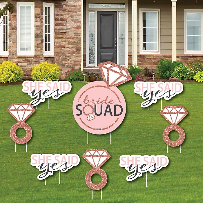 Bride Squad - Yard Sign & Outdoor Lawn Decorations - Rose Gold Bridal Shower or Bachelorette Party Yard Signs - Set of 8