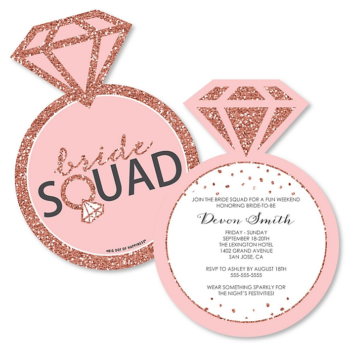 Bride Squad - Shaped Rose Gold Bridal Shower or Bachelorette Party Invitations - Set of 12