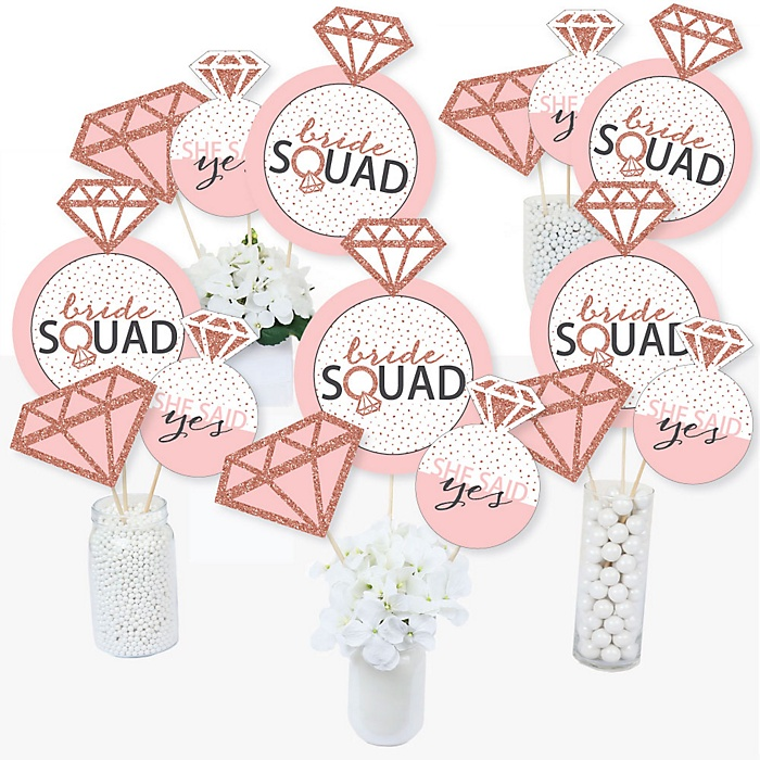 Bride Squad - Rose Gold Bridal Shower or Bachelorette Party Centerpiece Sticks - Table Toppers - Set of 15