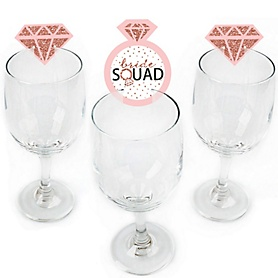 Bride Squad - Shaped Rose Gold Bridal Shower or Bachelorette Party Wine Glass Markers - Set of 24
