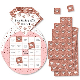Bride Squad - Bar Bingo Cards and Markers - Rose Gold Bridal Shower or Bachelorette Party Shaped Bingo Game - Set of 18
