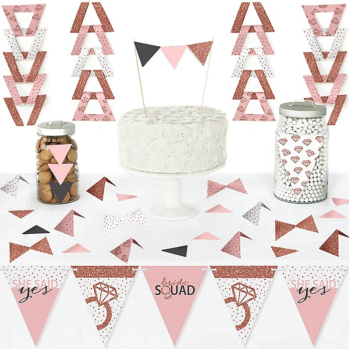 Bride Squad - DIY  Pennant Banner Decorations - Rose Gold Bridal Shower or Bachelorette Party Triangle Kit - 99 Pieces