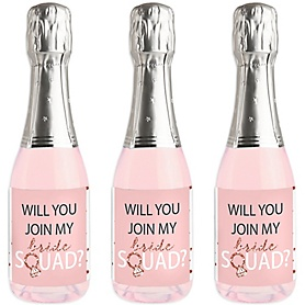 Will You Join My Bride Squad? - Mini Wine and Champagne Bottle Label Stickers - Rose Gold Rose Gold Will You Be My Bridesmaid Party Favor Gift for Women - Set of 16