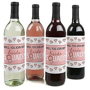 Will You Join My Bride Squad? - Rose Gold Will You Be My Bridesmaid Decorations for Women - Wine Bottle Label Stickers - Set of 4