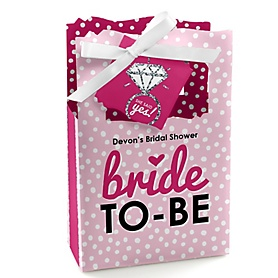 Bride-To-Be - Personalized Bridal Shower or Classy Bachelorette Party Favor Boxes - Set of 12