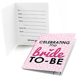 Bride-To-Be - Bridal Shower or Classy Bachelorette Party Fill In Invitations - 8 ct