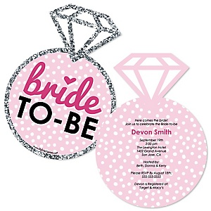 Bride-To-Be - Shaped Bridal Shower or Classy Bachelorette Party Invitations - Set of 12