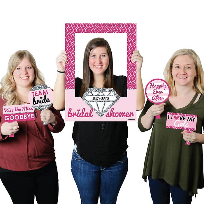 Bride-To-Be - Personalized Bridal Shower Selfie Photo Booth Picture Frame & Props - Printed on Sturdy Material
