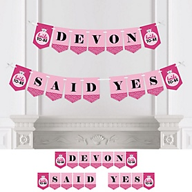 Bride-To-Be - Personalized Bridal Shower or Classy Bachelorette Party Bunting Banner & Decorations