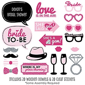 Bride-To-Be - Bachelorette Party Photo Booth Props Kit - 20 Count