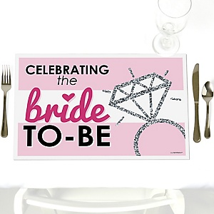 Bride-To-Be - Party Table Decorations - Bridal Shower or Classy Bachelorette Party Placemats - Set of 12