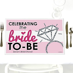 Bride-To-Be - Party Table Decorations - Personalized Bridal Shower or Classy Bachelorette Party Placemats - Set of 12