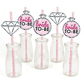 Bride-To-Be - Paper Straw Decor - Bridal Shower or Classy Bachelorette Party Striped Decorative Straws - Set of 24