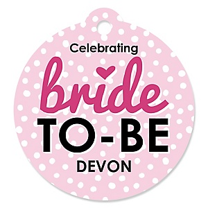 Bride-To-Be - Personalized Bridal Shower or Classy Bachelorette Party Tags - 20 ct