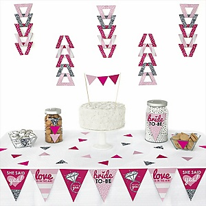 Bride-To-Be -  Triangle Bridal Shower or Classy Bachelorette Party Decoration Kit - 72 Piece