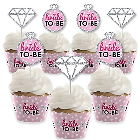 Bride-To-Be - Cupcake Decoration - Bridal Shower or Classy Bachelorette Party Cupcake Wrappers and Treat Picks Kit - Set of 24