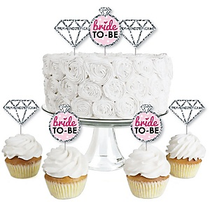 Bride-To-Be - Dessert Cupcake Toppers - Bridal Shower or Classy Bachelorette Party Clear Treat Picks - Set of 24