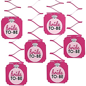 Bride-To-Be - Bridal Shower or Classy Bachelorette Party Hanging Decorations - 6 ct