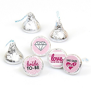 Bride-To-Be - Round Candy Labels Bridal Shower or Classy Bachelorette Party Favors - Fits Hershey's Kisses - 108 ct