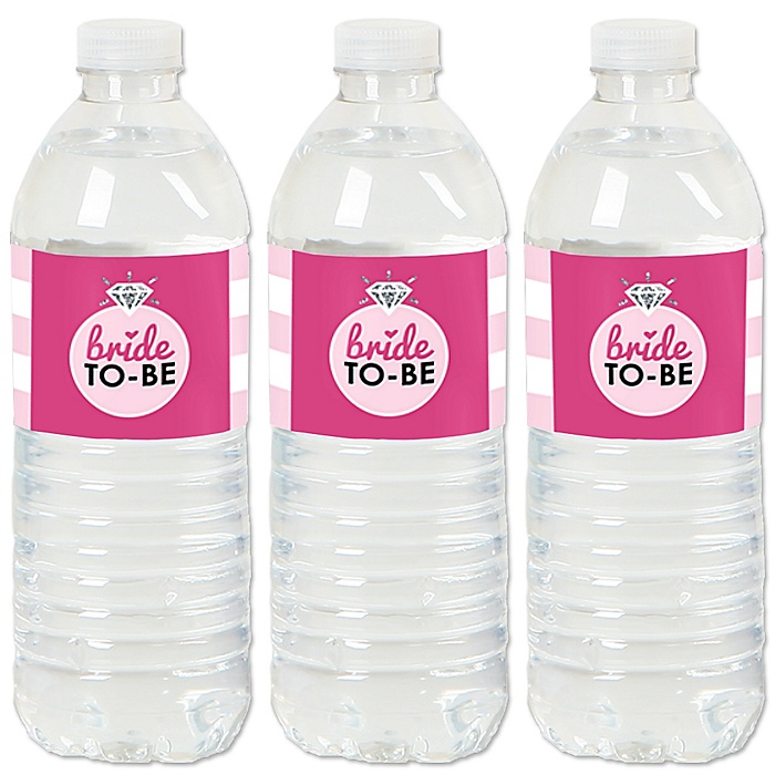 Bride-To-Be - Bridal Shower or Classy Bachelorette Party Water Bottle Sticker Labels - Set of 20