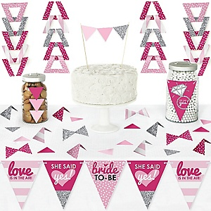 Bride-To-Be - DIY  Pennant Banner Decorations - Bridal Shower or Classy Bachelorette Party Triangle Kit - 99 Pieces