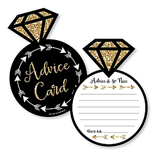Bride Tribe - Ring Wish Card Bridal Shower or Bachelorette Party Activities - Shaped Advice Cards Game - Set of 20