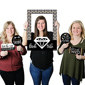 Bride Tribe - Personalized Bachelorette Party or Bridal Shower Selfie Photo Booth Picture Frame & Props - Printed on Sturdy Material