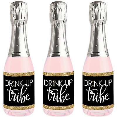 bride tribe mini wine and champagne bottle label stickers bridal shower or bachelorette party favor gift set of 16 bigdotofhappinesscom