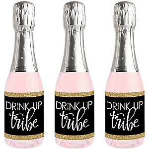 Bride Tribe - Mini Wine and Champagne Bottle Label Stickers - Bridal Shower or Bachelorette Party Favor Gift - For Women and Men - Set of 16