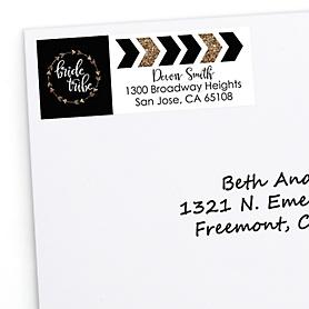 Bride Tribe - Personalized Bachelorette Party & Bridal Shower Return Address Labels - 30 ct