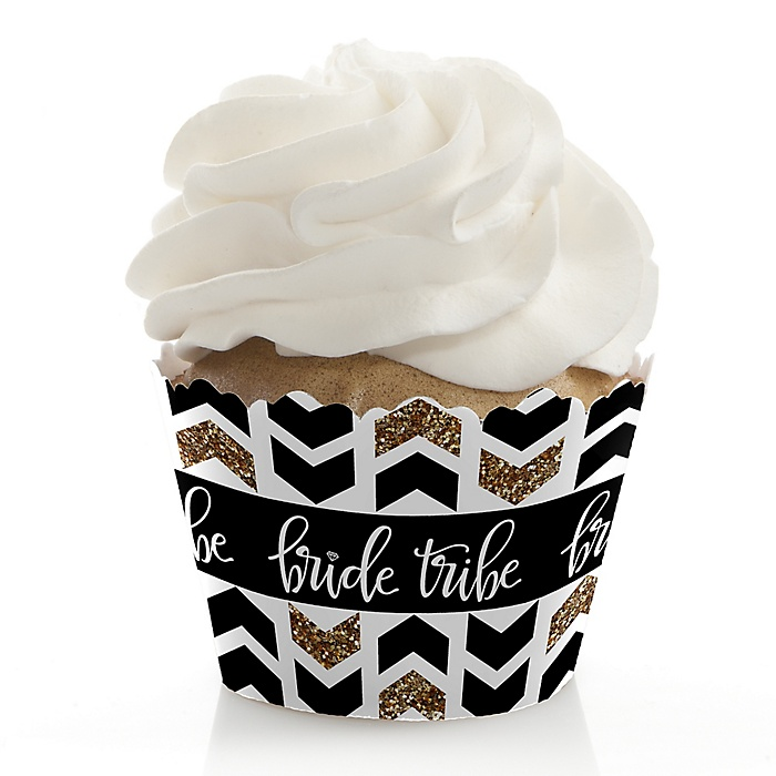 Bride Tribe - Bachelorette Party & Bridal Shower Decorations - Party Cupcake Wrappers - Set of 12