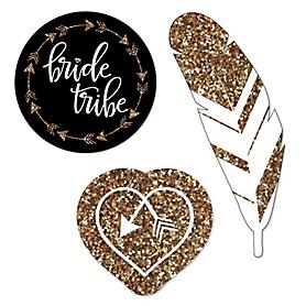 Bride Tribe - DIY Shaped Bachelorette Party & Bridal Shower Paper Cut-Outs - 24 ct