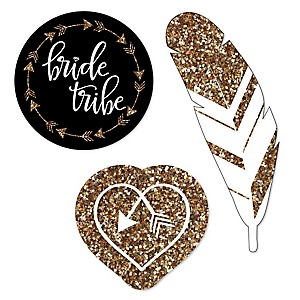 Bride Tribe - DIY Shaped Bachelorette Party & Bridal Shower Paper Cut-Outs - 24 ct
