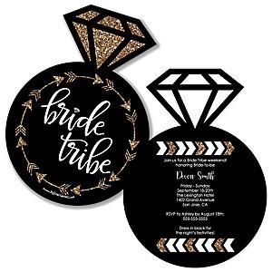 Bride Tribe - Shaped Bachelorette Party & Bridal Shower Invitations - Set of 12