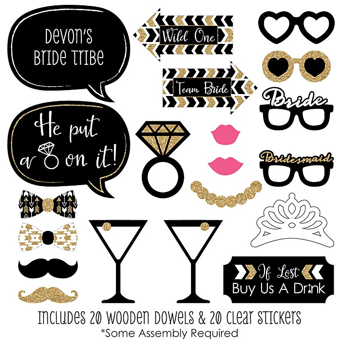 Bride Tribe - 20 Piece Bachelorette Party Photo Booth Props Kit