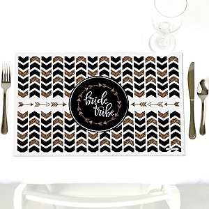 Bride Tribe - Party Table Decorations - Bachelorette Party & Bridal Shower Placemats - Set of 12