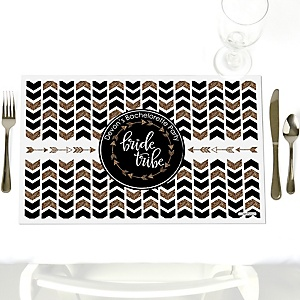 Bride Tribe - Party Table Decorations - Personalized Bachelorette Party & Bridal Shower Placemats - Set of 12