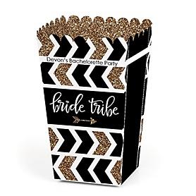 Bride Tribe - Personalized Bachelorette Party & Bridal Shower Popcorn Favor Treat Boxes - Set of 12