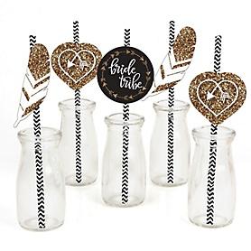 Bride Tribe - Paper Straw Decor - Bachelorette Party & Bridal Shower Striped Decorative Straws - Set of 24