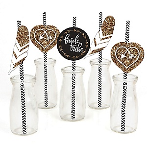 Bride Tribe - Paper Straw Decor - Bachelorette Party & Bridal Shower Striped Decorative Straws - Set of 24