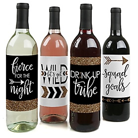 Bride Tribe - Bachelorette Party & Bridal Shower Decorations for Women and Men - Wine Bottle Label Stickers - Set of 4