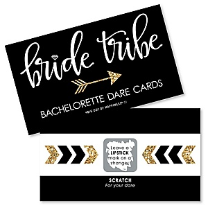 Bride Tribe - Bachelorette Party & Bridal Shower Game Scratch Off Dare Cards - 22 ct