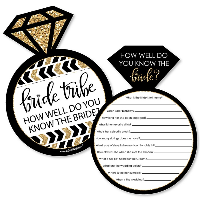 Bride Tribe - Bridal Shower or Bachelorette Party Game - How Well Do You Know The Bride Game - Set of 20