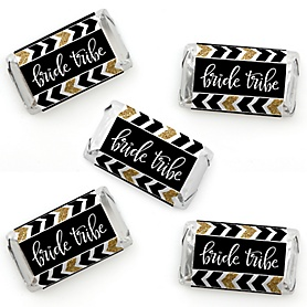 Bride Tribe - Mini Candy Bar Wrapper Stickers - Bridal Shower or Bachelorette Party Small Favors - 40 Count
