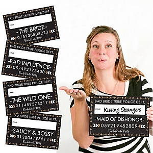 Bride Tribe - Bachelorette & Bridal Shower Party Mug Shots - 20 Piece Photo Booth Props Kit